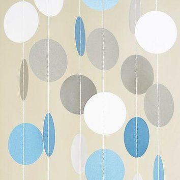 White Light Blue Circle Dots Paper Garland 10 FT Polka Dots Banner Party Decor