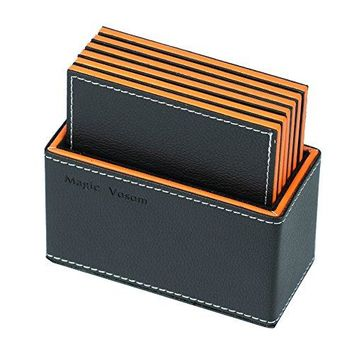 Magic Vosom Multilayer Complex Faux Leather Drink Coaster Cup Mat Black and Orange Set of 6