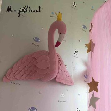 Wall Mount Stuffed Animal Head Flamingo Hanging Decor Kids Toy Doll Pink