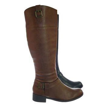 Carpet Womens Fashion Riding Boot w Harness and Block Heel, Equestrian Inspired