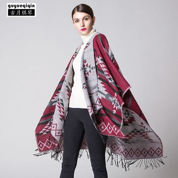 New Style Bohemia Tassels Scarves For Women Winter 6 Colors Warm Pashmina Geometry Printing Ponchos Capes Boho Scarf