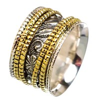 Meditation Ring Leaf Patterned Two Tone Four Spinner Ring
