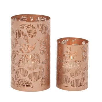 Stylish metal candle lantern set of 2