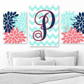 Coral Navy Aqua Nursery Decor, Monogram Wall Art, Girl Flower Monogram Bedroom Decor, Family Initial Pictures, Set of 3, Canvas or Print
