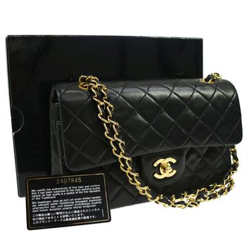 Authentic CHANEL Double Flap Quilted Chain Shoulder Bag Black VTG GOOD AK16145A