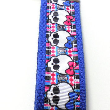 Wristlet Girly Skulls Red and Blue Bows Key Ring Key Fob