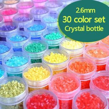 2.6mm 30 bottle/lot 1lot=14000pcs 30color perler hama bead education kid diy toy tweezer fuse iron paper kit craft pegboard