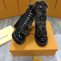 DCCK Fashion Online Lv Louis Vuitton Women Fashion Leather High Boot Heels Shoes