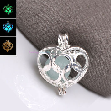 Multi-1 20pcs 14.5mm*12.2mm Summer Style Silver Plated Hollow Heart Lantern Peal Cage Filigree Locket Pendants For DIY Jewellry Women