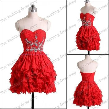SML1838 Real Photo A line Chiffon Beaded Sweetheart neckline mini party wear red short cocktail dress 2017