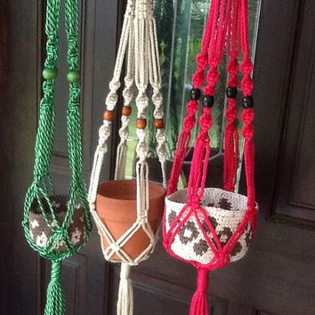 Small Macrame Plant Hangers, 4 mm Polyolefin cord, choice of cream, variegated green, raspberry pink or buy the set of three
