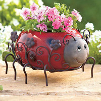 Ceramic & Metal Ladybug Planter Flower Pot Garden Porch Decor