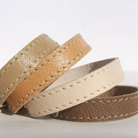 Set  Of  Four Leather Bracelets in Sand,Sandy Brown,Cream and Pastel Brown.