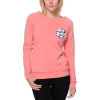 Glamour Kills Forever Pocket Coral Crew Neck Sweatshirt at Zumiez : PDP
