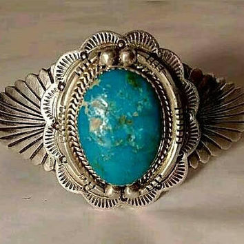 Charleston Draper Navajo Vintage Blue Gem Turquoise Sterling Silver Sun Ray Cuff Bracelet Native American LARGE