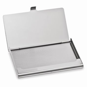 Silver-tone Business Card Holder - Engravable Personalized Gift Item