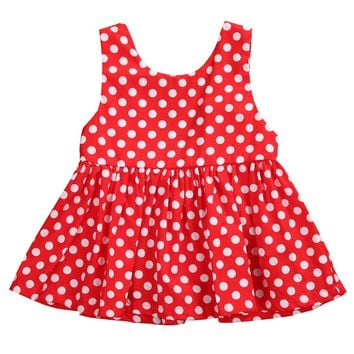 Toddlers Newborn Infant Baby Girls Dress Sleeveless Red Polka Dot Sunsuit Short Mini Dress Outfit Clothes
