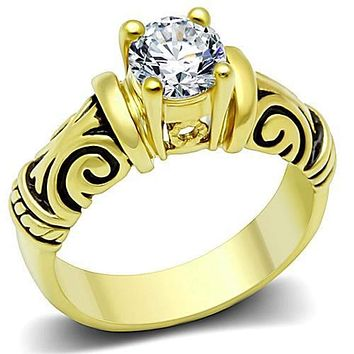 WildKlass Stainless Steel Celtic Ring IP Gold(Ion Plating) Women AAA Grade CZ Clear
