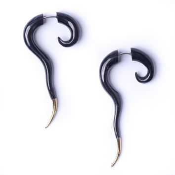 Women's Mens Black Horn Brass Spiral Fake Taper Stretcher Plug Tribal Earrings