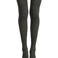 Disney The Little Mermaid Black Scale Faux Thigh High Tights