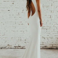 Noel and Jean by Katie May Theo Low Back Crepe Mermaid Gown (Nordstrom Exclusive) | Nordstrom