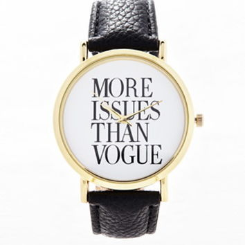 Faux Leather Statement Watch