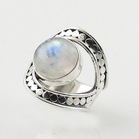 Moonstone Adjustable Sterling Silver Horse Shoe Ring