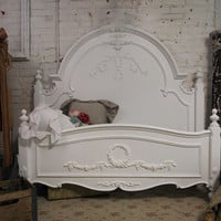 Painted Cottage Chic Shabby White Queen Romance Bed BD205