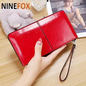 2017 NEW Zipper Lady Women Bifid Large Capacity Clutch Long Coin Card Phone Purse Leather Wallet Card Holder Handbag Bag