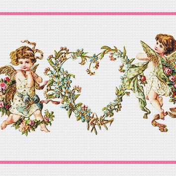 Victorian 2 Angels Cupids with Heart Wreath Valentine from Antique Card Counted Cross Stitch or Counted Needlepoint Pattern