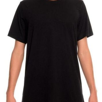Raw Neck Tri-Blend Tee (Black)