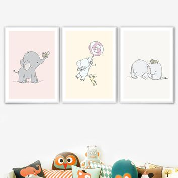 7-Space Elephant Lollipop Wall Art Nordic Poster Posters And Prints Canvas Painting Nursery Nordic Style Kids Decoration Picture