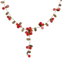Red Cherries Beads Long Chain Necklace