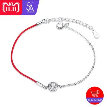 SA SILVERAGE 925 Sterling Silver Red Charm Bracelets Bangles for Women Fine Jewelry Silver Bangle Bracelet Pulseiras Double 11