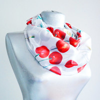 Handmade Cherry Infinity Scarf - Summer Satin Chiffon Scarf - Red Green Gray İvory
