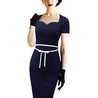 Navy Blue With White Trim Vintage Wiggle Dress