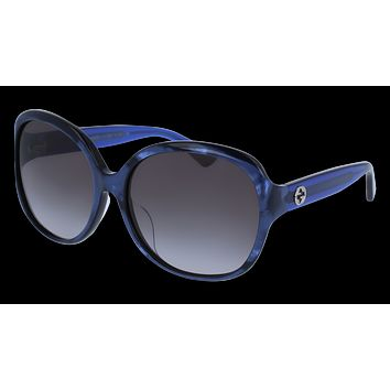 Gucci - GG0080SK-005 Blue Sunglasses / Grey Gradient Lenses