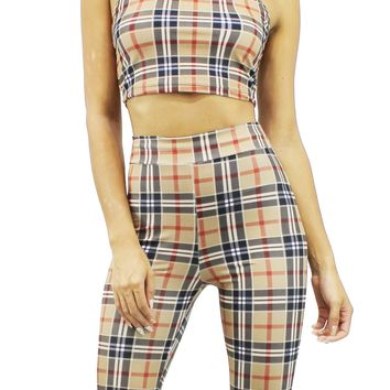 Brown Plaid Pattern Halter Crop Top And High Waist Bermuda Pants Set