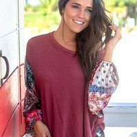Burgundy Knit Top with Printed Sleeves