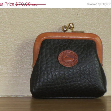ON SALE DOONEY & Bourke Black Leather Duck Logo Kiss lock Coin Purse Change Wallet