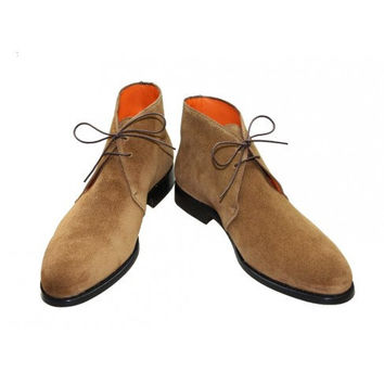 Handmade Shoes - Chukka boot in cognac suede