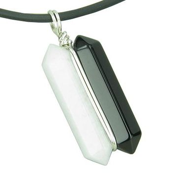 Individual Ying Yang Amulet Double Crystal Point Onyx White Jade Gemstones Pendant Silver Necklace