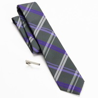 Apt. 9 Andros Plaid Skinny Tie & Tie Bar Set - Men, Size: One