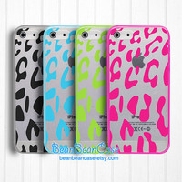Leopard print iPhone 5C iPhone 5s iPhone 5 clear case, Samsung Galaxy S4 Galaxy S5 clear case, transparent cover, extra protection (L08)