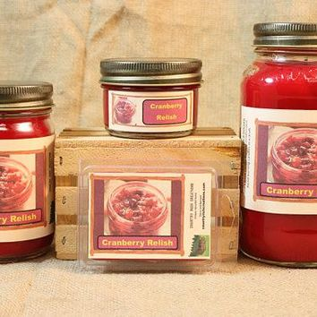 Cranberry Relish Scented Candle, Cranberry Relish Scented Wax Tarts, 26 oz, 12 oz, 4 oz Jar Candles or 3.5 Clam Shell Wax Melts