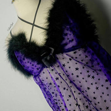 Purple sheer stars fuax fur trim baby doll night gown