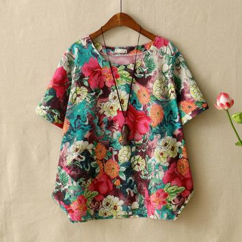 Mori Girls Womens Short-sleeved T-Shirt Retro Style Floral Printed Soft ComfortCotton Linen Tops Tee Shirt Femme Loose Clothing