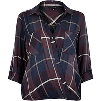 River Island Womens Red check wrap front collar blouse