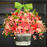 spring wreath Easter wreath tulips wreath Mother's day gift front door decorations flowers vases wreaths