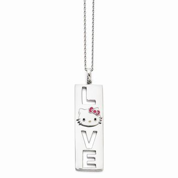 Sterling Silver Hello Kitty Enamel Pink Bow Collection Necklace